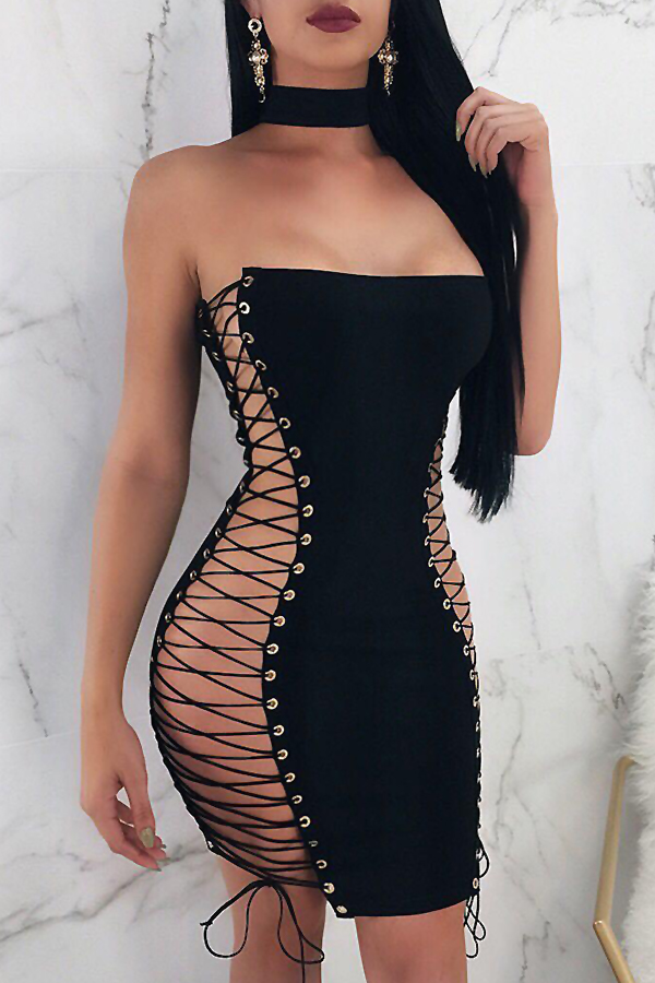 Lovely Sexy Bateau Neck Lace-up Hollow-out Black Polyester Mini Dress