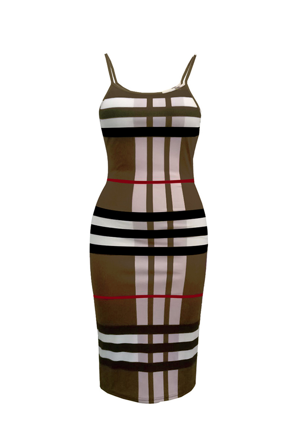 Lovely Fashion U Neck Striped Printed Coffee Blending Knee Length Dress