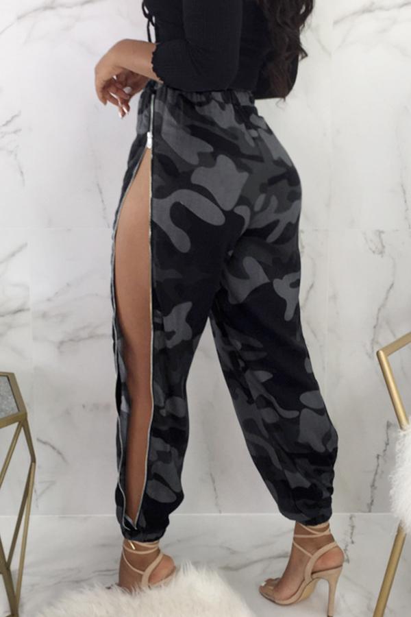 Pantalones De Poliéster Camo Con Cremallera Laterales De Cintura Elástica