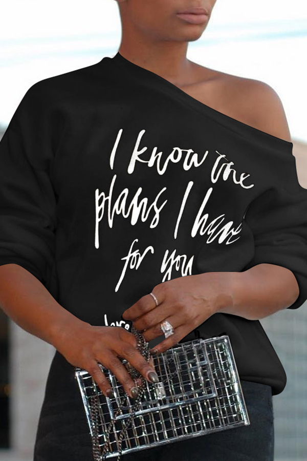 Lovely Fashionable Sloping Shoulder Letters Printed Black Polyester T-shirt