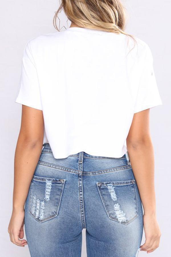Lovely Stylish Round Neck Short Sleeves Printed White Cotton Blends T-shirt