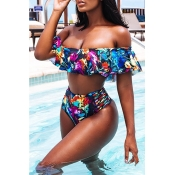 Lovely Euramerican Printed Hollow-out Blue Two-piece Swimwear