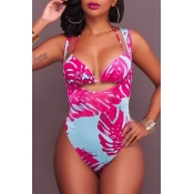 Lovely Bohemia Backless Printing Lace-up Rose Red Polyester Two-piece Swimwears