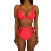 Lovely Fashion Lace-up Hollow-out Red Polyester Two-piece Swimwears