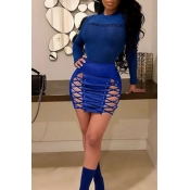Lovely Chic Lace-up Hollow-out Royalblue Leather Sheath Mini Skirts