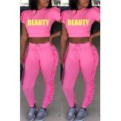 Precioso Conjunto De Pantalones De Dos Piezas De Poliéster Rosa Redondo Doblado Informal