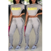 Lovely Casual Round Fold Design Grey Polyester Two-piece Pants Set