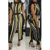 LovelySexy Round Neck Ruffle Striped Patchwork Yellow Polyester One-piece Jumpsuits