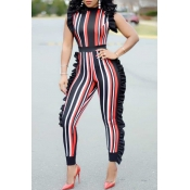 Lovely Sexy Round Neck Ruffle Striped Patchwork Orange Polyester One-piece Jumpsuits