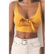 Lovely Trendy V Neck Bow Design Yellow Polyester T