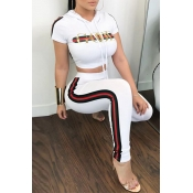 Lovely Casual Hooded Collar Letters Printed White Twilled Satin Two-Piece Pants Set
