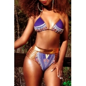 Lovely Sexy Lace-up Hollow-out Printing Purple  Two-piece Swimwear