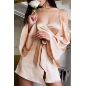 Lovely Sexy V Neck Flared Sleeves Bandage Gold Tan