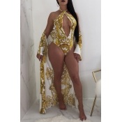 Lovely Sexy V Neck Printing White Polyester One-piece Swimwears(With Cover-ups)