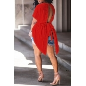 Lovely Trendy Round Neck Irregular Design Drawstring Red Cotton Shirts
