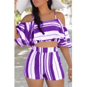 Lovely Sexy Spaghetti Strap Sleeveless Striped Purple Polyester Two-piece Shorts Set