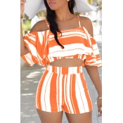 Lovely Sexy Spaghetti Strap Sleeveless Striped Orange Polyester Two-piece Shorts Set