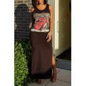 Lovely Casual Round Neck Cartoon Printed Side Slit Black Cotton Blend Ankle Length Dress
