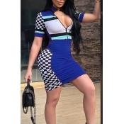 Lovely Sexy Mandarin Collar Patchwork Black Healthy Fabric Sheath Mini Dress