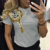 Encantador Ocio O Cuello Manga Corta Bordado Camiseta Gris De Algodón