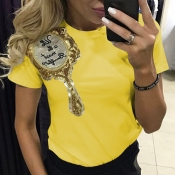 Lovely Leisure O Neck Short Sleeves Embroidered Yellow Cotton T-shirt