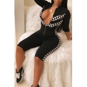 Lovely Trendy Mandarin Collar Plaid Printed Black Polyester One-piece Jumpsuits