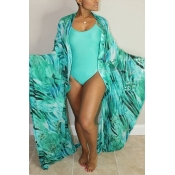 Lovely Sexy U Neck Printing Green Polyester One-piece Swimwears(With Cover-Ups)