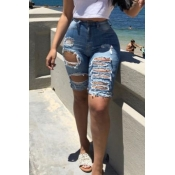 Lovely Trendy High Waist Broken Holes Blue Denim S