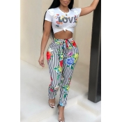 Lovely Euramerican Round Neck Striped Floral Printed White Polyester Two-Piece Pants Set