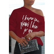 Lovely Fashionable Sloping Shoulder Letters Printed Wine Red Polyester T-shirt