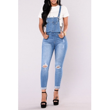 Lovely Fashion Broken Holes Backless Baby Blue Denim One-piece Jumpsuits