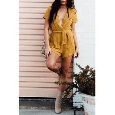 Lovely Fashion V Neck Short Sleeves Yellow Cotton One-piece Short Jumpsuits(With Belt)