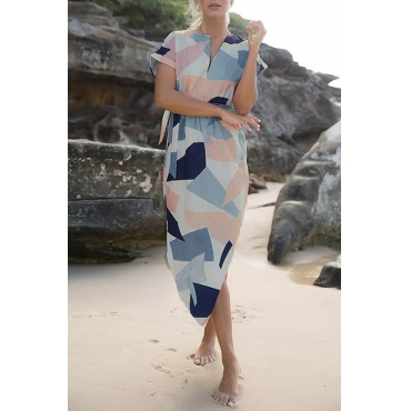 Lovely Fashion V Neck Geometric Printed White Polyester Mid Calf Dress(With Belt)