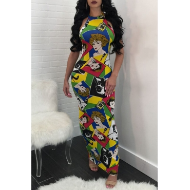 Lovely Sexy Halter Neck Backless Non Positioning Portrait Printed Polyester Ankle Length Dress