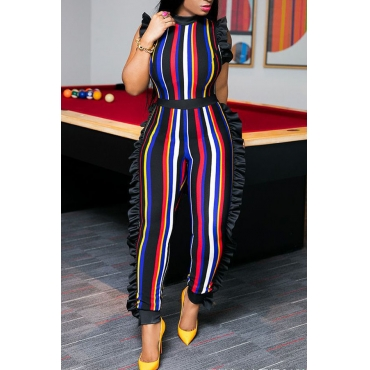 LovelySexy Round Neck Ruffle Striped Patchwork Red Polyester One-piece Jumpsuits