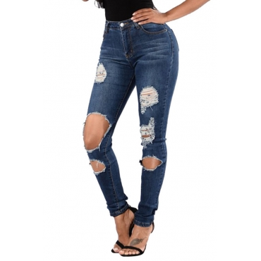 Lovely Fashion Mid Waist Broken Holes Deep Blue Denim Zipped Jeans