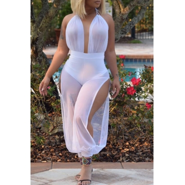 Lovely Trendy Halter Neck Backless See-Through Side Slit White Polyester One-piece Jumpsuits