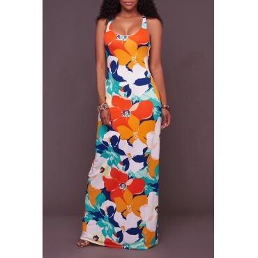 Lovely Sexy U Neck Backless Non Positioning Printing Orange Polyester Ankle Length Dress