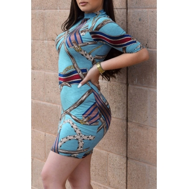 Lovely Sexy Round Neck Half Sleeves Printing Blue Polyester Sheath Mini Dress