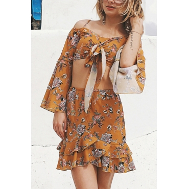 Lovely Bohemian Bateau Neck Flared Sleeves Irregular Yellow Polyester Two-piece Skirt Set