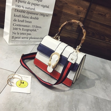 Lovely Fashion Color Collision Design White PU Messenger Bags
