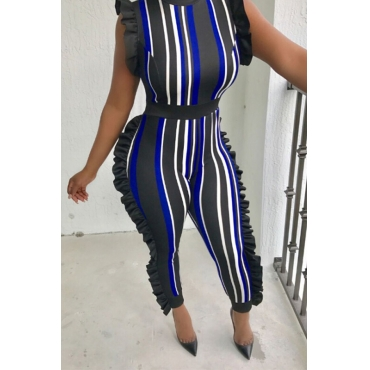 LovelySexy Round Neck Ruffle Striped Patchwork Dark Blue Polyester One-piece Jumpsuits