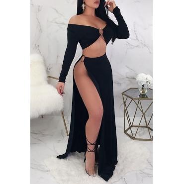 Lovely Trendy V Neck Long Sleeves Side Slit Black Polyester Two-piece Skirt Set