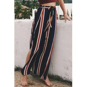 Lovely Fashion Mid Elastic Waist Striped Patchwork Blending Loose Pants(With Belt)