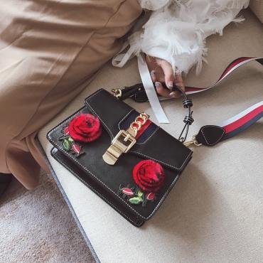 Reizvolle Art Und Weise Blumen Dekorative Hasp Schwarz PU Kupplungen Taschen