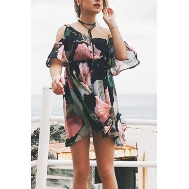 Прекрасный Случайный Роса Плеча Flounce Цветочным Печатным Черным Шифоновым Мини-платье