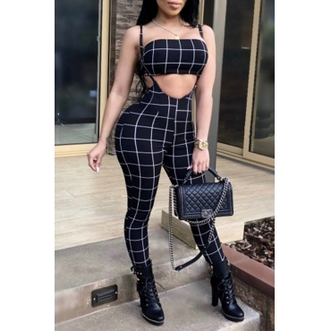 Lovely Sexy Bateau Neck Striped Black Twilled Satin Two-Piece Pants Set
