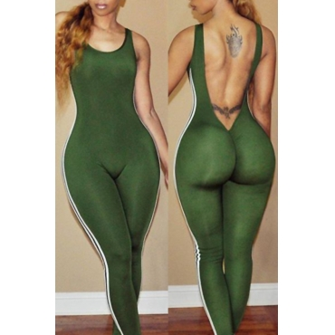 Lovely Sexy Round Neck Backless Striped Green Polyester One-piece Jumpsuits