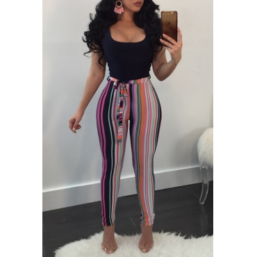 Lovely Trendy U Neck Printing Pink Cotton Blends One-piece Jumpsuits(With Belt)