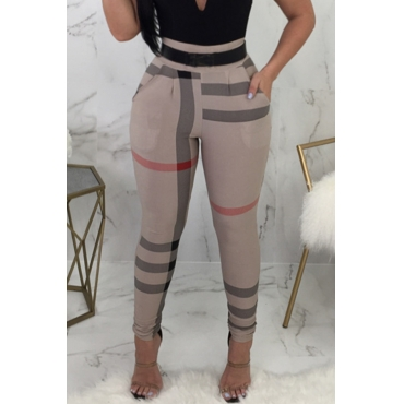 Lovely Fashion High Elastic Waist Irregular Striped Printed Pants(Without Belt,Batch Print)